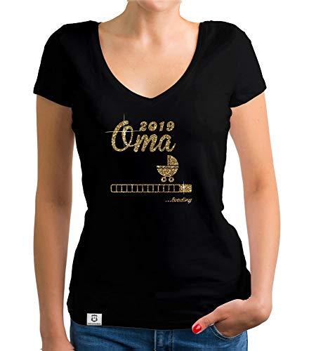 Shirtdepartment - Damen T-Shirt V-Ausschnitt - Glitzer - Oma 2019 Loading schwarz-goldglitzer L