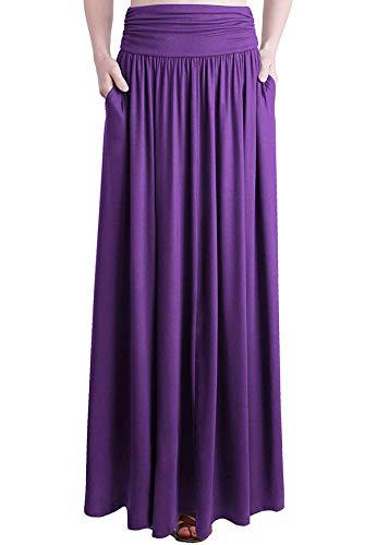 Loxdonz Frauen hohe Taille raffen Maxi Rock Falten uber Lange Röcke mit Taschen (XX-Large / (EU 48/50), Lila)