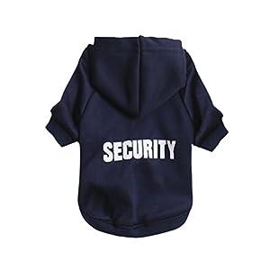 """Angelof Vetement Chien/Chat Sweat A Capuche Chien Veste Petit Chihuahua Manteau T-Shirt Habillement 2 Pattes Pour Chien Habits Chiot Imprimé """"SECURITY"""""""