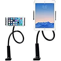 Supporto per Cellulari e Tablet, Enllonish Flessibile e Regolabile Collo Oca Pigra Metallo Supporto per 4-12 Pollici Telefon, iPhone, Android Smartphone, iPad e Tablet, Titolare da Cucina e Ufficio (Holder For Tablet-Black)
