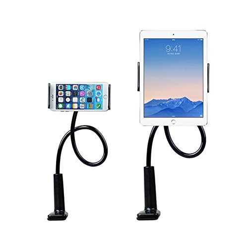 Enllonish Support de Tablette et Smartphone Pliable, Support réglable en col-de-cygne stand avec bras extensible pour téléphone (Holder For Tablet|Black)