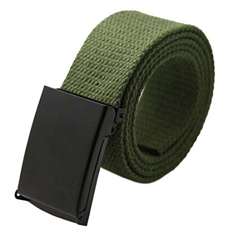 Unisex Cintura - TOOGOO(R)Unisex Plain Cintura Tela Tessitura Cinturino (Army Green)