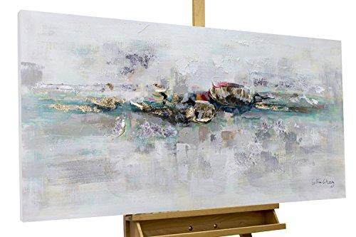 KunstLoft® Acryl Gemälde \'Mirage\' 120x60cm | original handgemalte Leinwand Bilder XXL | Abstrakt Grau Blau Gold | Wandbild Acryl Bild Moderne Kunst einteilig mit Rahmen