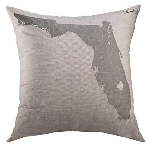 DDOBY Kissenbezug Black County High Karte von U State Florida Grenzen der Grafschaften Blaue Form Quadrat Wurfkissenbezug für Männer Frauen Kinder Kissenbezug 18x18 Zoll (County Von Florida Karte)