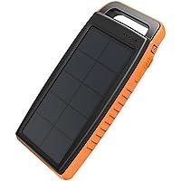 RAVPower 15000mAh Solarladegerät Powerbank Externe Akku mit 2 iSmart USB-Anschlüsse, 2 Lademethoden und Hellen LED-Licht für iPhone, iPad, Samsung, Huawei, HTC usw