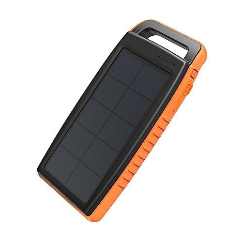 RAVPower 15000mAh Solarladegerät Powerbank Externe Akku mit 2 iSmart USB-Anschlüsse, 2 Lademethoden und Hellen LED-Licht für iPhone, iPa...