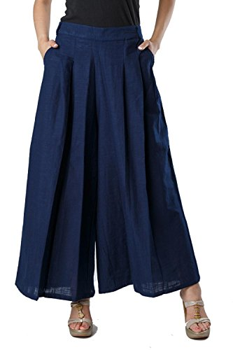 Bright Cotton Palazzo Pants Cotton ( Dark Blue , Plazo , Pleated...
