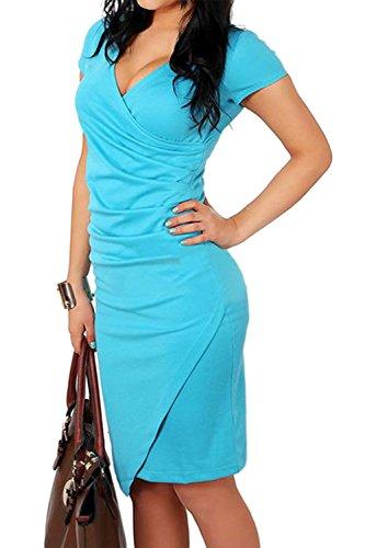 Damen Kurzarm V-Ausschnitt Bleistift figurbetonten Kleid Blue