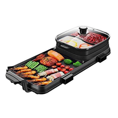 YJIUJIU Multifunktionsgrill-KochtopfEinteiliger Topf, Tragbarer Doppel-Flavour-Trennkocher, Multifunktionsherde Küchengerät -
