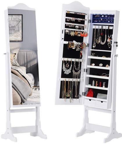 LANGRIA Schmuckschrank Spiegelschrank Schmuckregal mit extra breiter Spiegel LED-Leuchten 2 Schubladen (41 x 36 x 157 cm, Weiß)