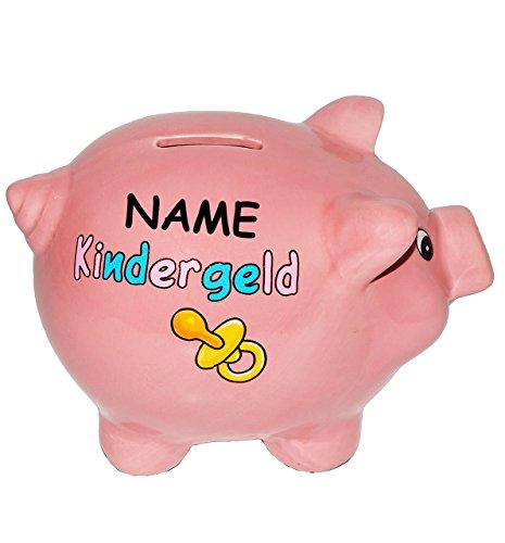 """Spardose """" Kindergeld """" incl. Name – aus Porzellan / Keramik – Sparschwein lustig witzig – Baby zur Geburt – Neugeborene / Pullerparty – Enkel – für Erwachsene Eltern / Kinder Mädchen Jungen – Schwein / stabile Sparbüchse"""