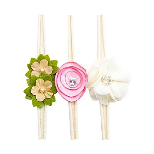 Jmitha bambino fascia fasce di fiore della neonata cerchietto elastico accessori per capelli a fiori (m- 3 pezzil)
