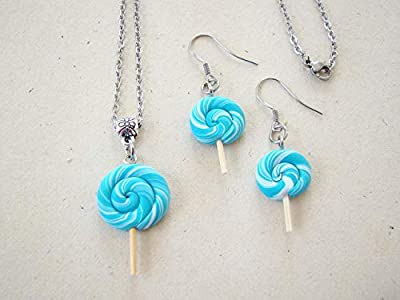 Coffret cadeau anniversaire, parure collier et boucles d'oreilles sucettes sucre d'orge lollipops, bijoux fimo