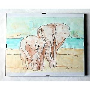 Elefanten -In Aquarell gemalt auf rauem Fabriano-Papier, in einem Tagescormice,cm 30×24 cm, handgefertigt in Italien Toskana Lucca, kreiert von Davide Pacini