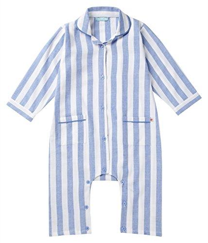 Piccalilly Coton Bio Bleu à Rayures tissé Grenouillère pour garçon