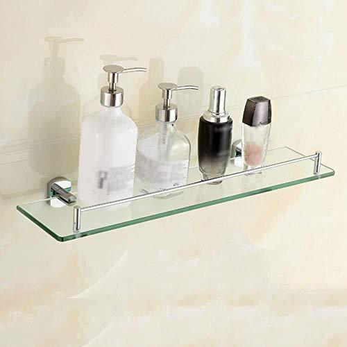 BNyszwj Regal Bad Glasrahmen Gehärtetes Glas Quadrat Wandmontage Chrom poliert Regal -