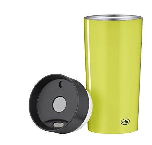 alfi 5637.278.035 Coffee To Go Trinkbecher isoMug Plus, Edelstahl Grün 0,35 l, Spülmaschinenfest, zerlegbarer Verschluss, 4 Stunden heiß
