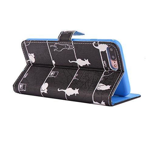 Hülle für iPhone 7 plus , Schutzhülle Für iPhone 7 Plus Katze und Fisch Muster Horizontale Flip PU Leder Tasche mit Halter & Card Slots & Wallet ,hülle für iPhone 7 plus , case for iphone 7 plus ( SKU IP7P2263C