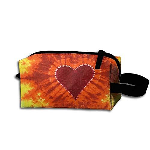 (Tie Dye Heart Stylish Women's Tolietry Bag Cosmetic Travel Case Accessories Organizer)