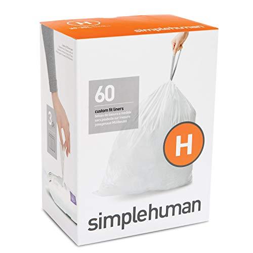 Code H simplehuman Poubelle Plastique confort Lot de 60, Blanc