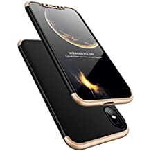 Carcasa para iPhone X, de AICase. Ultrafina y ligera. De policarbonato duro. Protección de 360 °. Protector de pantalla de vidrio templado, color dorado/negro
