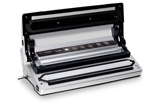 CASO VC300 Vakuumierer - Vakuumiergerät, Lebensmittel bleiben bis zu 8x länger frisch - natürliche Aufbewahrung ohne Konservierungsstoffe, doppelte 30cm lange Schweißnaht, regulierbare Vakuumstärke, inkl. Folienbox und Cutter, inkl. 2 Profi-Folienrollen & Schlauch für Vakuumbehälter - 8