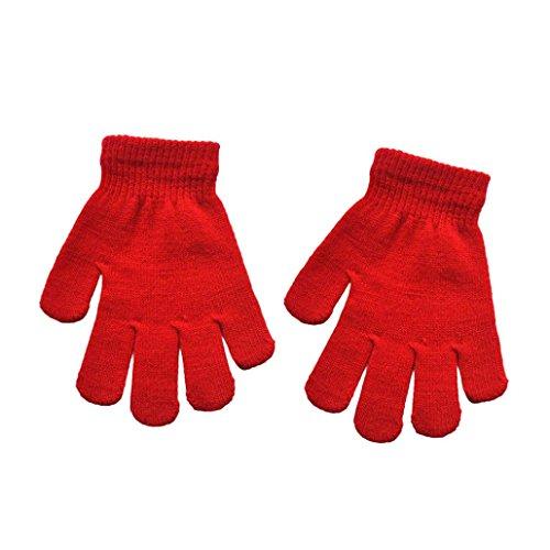 Fingerhandschuh URSING Kleinkind Herbst und Winter Baby Warme Handschuhe Fäustlinge Solid Color Unisex Jungen Mädchen Kinderhandschuhe Fahrradhandschuhe Winterhandschuhe (Rot)
