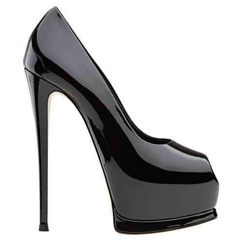 ENMAYER Femmes en Cuir Verni Plateforme Peep Toe Stiletto Haut Talon Robe de Soirée de Mariage Pumps Court Shoes Noir