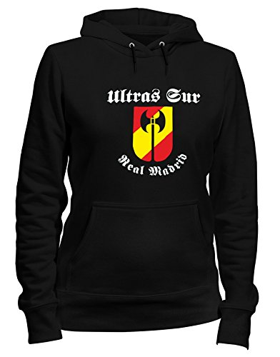 Kapuzen-Sweatshirt Frauen Schwarz TUM0031 Ultras Sur Real Madrid (Pullover Real Frauen Madrid)