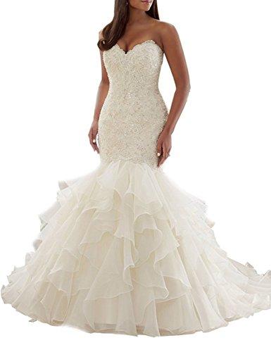 Erosebridal Schatz Meerjungfrau Brautkleid Übergröße Hochzeitskleid für die Braut Elfenbein DE40