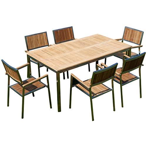 ASS Gartengarnitur Edelstahl Teak Set: Tisch 160x90 cm + 6 Teak Sessel Serie Kuba A-Grade Teak Holz Serie Kuba Gastroqualität
