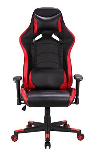 Gaming Stuhl, Schreibtischstuhl Bürostuhl Computerstuhl Racing Stuhl Sportsitz Chefsessel Drehstuhl mit Verstellbare Armlehnen (Rot)