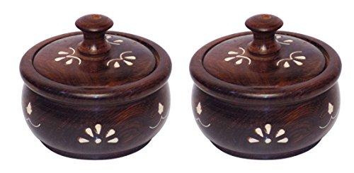 Nuovo Anno vendita Crafts 'man Set di 2vasetti in legno naturale, colore: marrone, per cucina/pranzo Ware