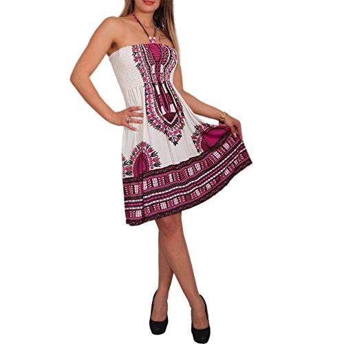 Neckholder Sommer Bandeau Kleid Holz-Perlen Damen Strandkleid Tuchkleid Tuch Aztec (33 Pink) -