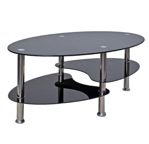ts-ideen table d'appoint noir table basse ovale en acier inoxydable avec verre de sécurité trempé 8 mm