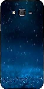 Snoogg Blue Rain Designer Protective Back Case Cover For Samsung J7