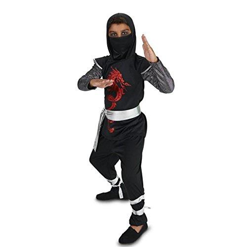 Black & Red Dragon Ninja Kämpfer Drachen Ninja Kinder Fasching Halloween Karneval Kostüm (Waffe Ninja Dragon Kostüme)