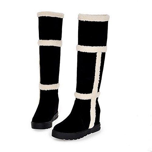 VogueZone009 Damen Knie Hohe Gemischte Farbe Ziehen Auf Niedriger Absatz Stiefel Schwarz