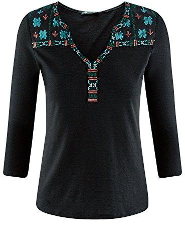 oodji Collection Damen T-Shirt mit 3/4-langen Ärmeln und Stickerei Schwarz (2919P)