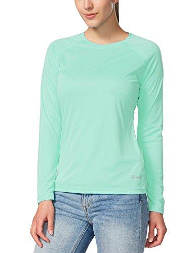 Baleaf Damen UPF 50+ UV Sonnenschutz Langarm Outdoor Performance T-Shirt Hell Grün Größ S