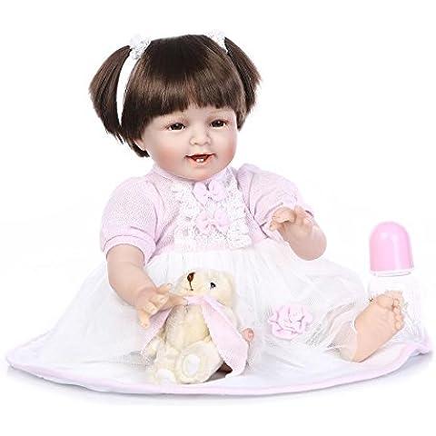 NPKDOLL 22inch renacer de la muñeca de silicona suave Simulación de vinilo 55cm magnética Boca realista juguete linda sonrisa de los niños vestido de color rosa de alta peluca con acrílico Ojos Reborn Doll A1ES
