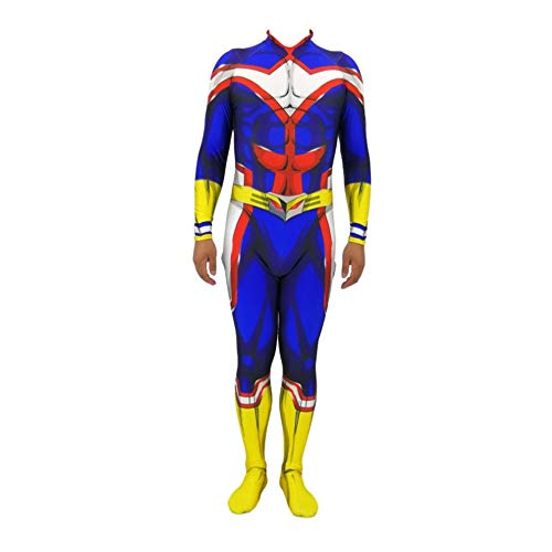 Kind Erwachsener Superhelden All·Might Kostüm Cosplay Halloween Onesies Mottoparty Karneval 3D Druck Spandex Strumpfhosen,Adult-XXL