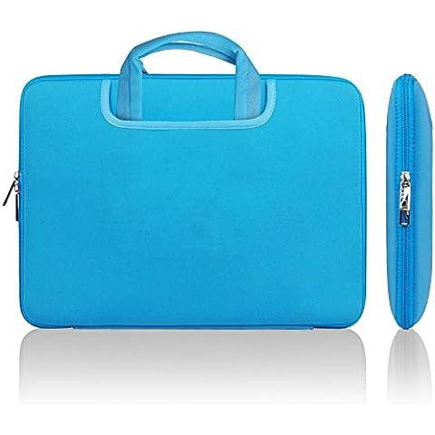 Lavievert suave neopreno portátil bolsa con asa bolso portátil cubierta de la caja con dos bolsillos