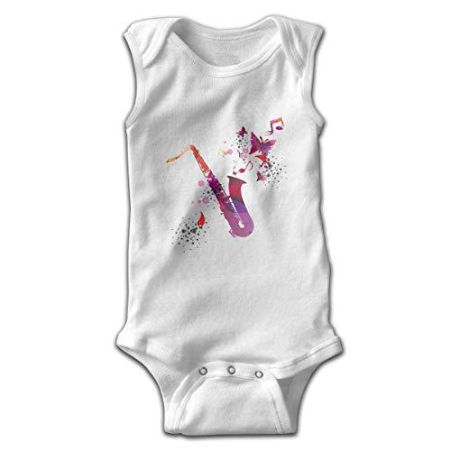 UYTGYUHIOJ Baby Sleeveless Bodysuits Saxophone Unisex Cute Lap Shoulder Onesies -