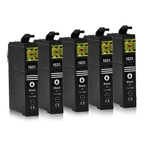 epson tintenpatronen 16xl 5 Druckerpatronen kompatibel zu Epson 16-XL / T1621 / T1631 (Schwarz) passend für Epson Workforce WF-2010 WF-2500 WF-2510 WF-2520 WF-2530 WF-2540 WF-2630 WF-2650 WF-2660 WF-2700 WF-2750 WF-2760