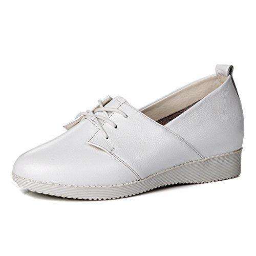 Frühling Herbst Damen Schnürsenkel Runde Zehen Gummi Sohle Flache Einfache Sneakers Halbschuhe Weiß