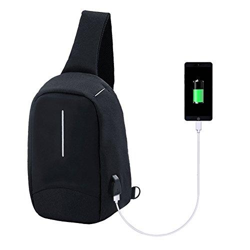 Crossbody Bag mit USB Port Schulter-Umhängetasche Outdoor Sport Umhängetasche Brusttasche Reise Wasserdicht Mini Ipad Daypack Wandern Canvas Tasche (Grün) black