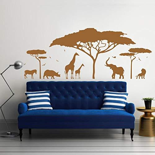 Afrikanische Safari Wandtattoo Vinyl Kunst Aufkleber Zoo Natur Giraffe Kindergarten Elefant abnehmbare Tapete Schlafzimmer Dekor DIY Kind 142 * 57 cm