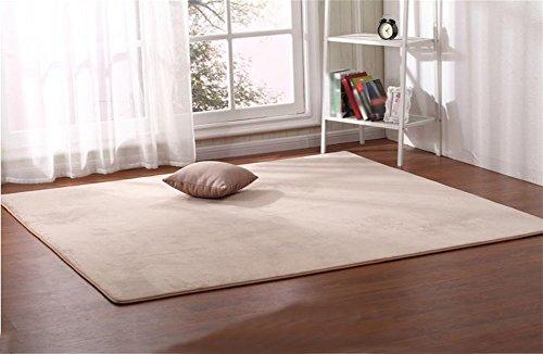 LYD® Teppich Home Maschine Weben Einfarbig Kann Gewaschen Werden Koralle Samt Wohnzimmer Couchtisch Schlafzimmer Nachttisch Platz Teppich Beige 80 X 160Cm