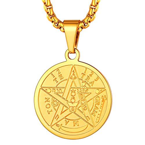 FaithHeart Monedas Circulares Pequeñas con Cadena Eslabones Cuadrados Planos Colgante de Talismán Amuleto de Protección Sigilo